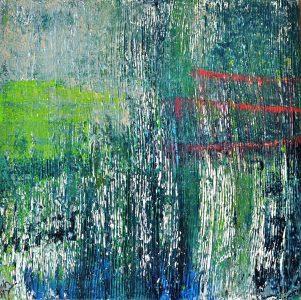 bleuabstrakt, abstrakte Acrylmalerei auf Holzkeilrahmen